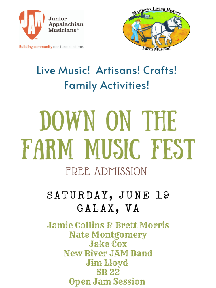 Down on the Farm Music Festival, June 19 from 10 am - 5 pm