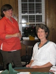 Regional JAM Board Member, Tammy Sawyer, visits with Alleghany folksong and dulcimer instructor, Donna Correll.